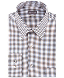 Men's Classic/Regular-Fit Performance Stretch Wrinkle-Free Flex-Collar Check Dress Shirt