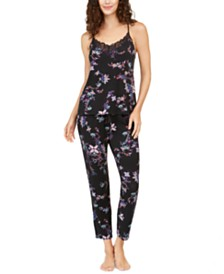 Josie Free Spirit Knit Lace-Trim Cami & Pants Pajamas Set