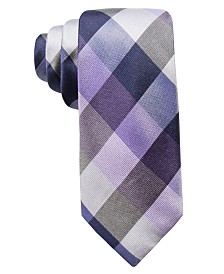 Ryan Seacrest Distinction™ Men's Weho Check Slim Silk Tie, Created for Macy's