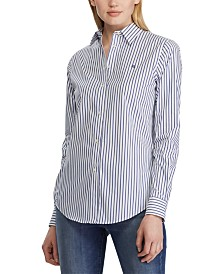 Lauren Ralph Lauren Stripe-Print No-Iron Button-Down Shirt