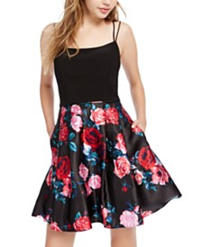 Blondie Nites Juniors' Floral-Print Fit & Flare Dress