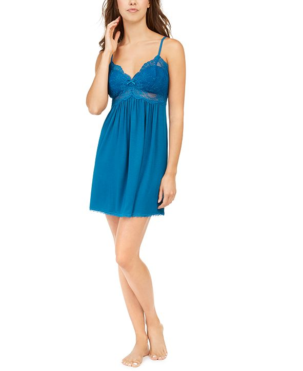 INC International Concepts INC Ultra Soft Lace-Trimmed Knit Chemise Nightgown, Created for Macy's