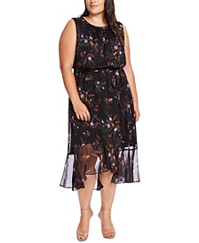 Plus Size Sleeveless Printed Belted Dress