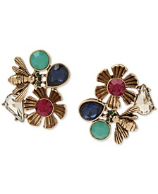 Gold-Tone Stone Bug & Flower Button Earrings