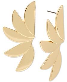 Gold-Tone Fan Drop Earrings