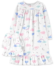 Little & Big Girls 2-Pc. Cloud-Print Nightgown & Doll Nightgown Set