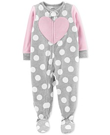 Baby Girls 1-Pc. Footed Fleece Heart Dot Pajama