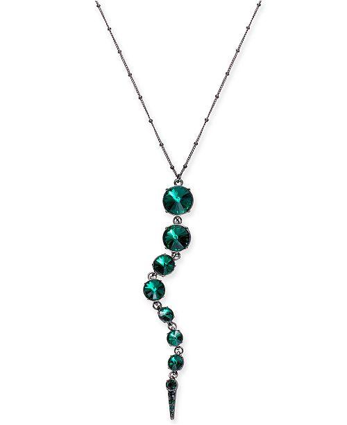 "Thalia Sodi Hematite-Tone Green Graduated Stone Pendant Necklace, 32"" + 3"" extender"