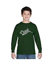LA Pop Art Boy's Word Art Long Sleeve T-Shirt - Popular Skating Moves Tricks