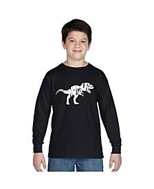Boy's Word Art Long Sleeve T-Shirt - Tyrannosaurus Rex