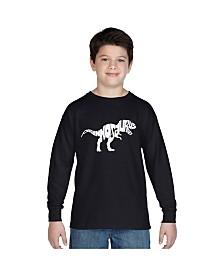 LA Pop Art Boy's Word Art Long Sleeve T-Shirt - Tyrannosaurus Rex