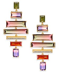 Gold-Tone Pavé & Ombré Crystal Clip-On Statement Earrings