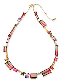 "Kate Spade New York Gold-Tone Ombré Crystal Collar Necklace, 17"" + 3"" extender"