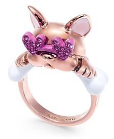 Pavé Heart-Glasses Bulldog Ring