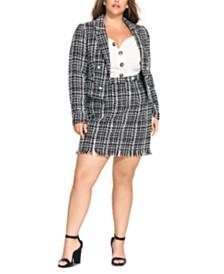 City Chic Trendy Plus Size Bouclé Jacket