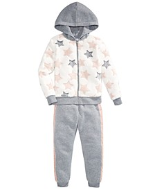 Little Girls Faux-Fur Star Hoodie Set, Created For Macy's