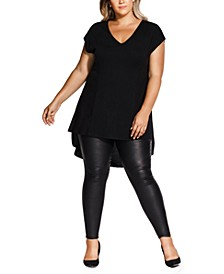 Trendy Plus Size V-Neck High-Low Top