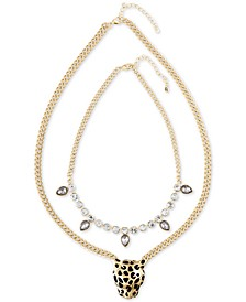 Gold-Tone 2-Pc. Set Crystal and Leopard Statement Necklaces