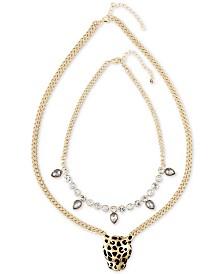 RACHEL Rachel Roy Gold-Tone 2-Pc. Set Crystal and Leopard Statement Necklaces
