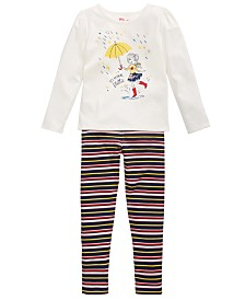 Epic Threads Little Girls Umbrella Girl T-Shirt & Striped Leggings, Created for Macy's