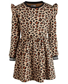 Big Girls Leopard-Print Sweatshirt Dress, Created for Macy's