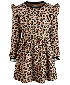 Epic Threads Big Girls Leopard-Print Sweatshirt Dress, Created for Macy's
