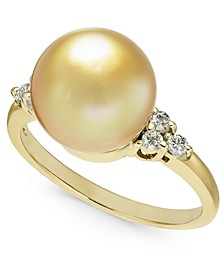 Cultured Golden South Sea Pearl (10mm) & Diamond (1/6 ct. t.w.) Ring in 14k Gold