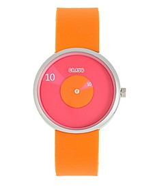 Unisex Pinwheel Orange Silicone Strap Watch 38mm