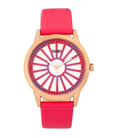 Crayo Unisex Electric Hot Pink Leatherette Strap Watch 41mm
