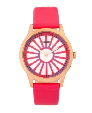 Unisex Electric Hot Pink Leatherette Strap Watch 41mm