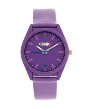 Unisex Dynamic Purple Leatherette Strap Watch 36mm