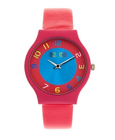 Crayo Unisex Jubilee Hot Pink Leatherette Strap Watch 36mm