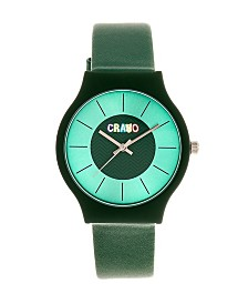 Crayo Unisex Trinity Green Leatherette Strap Watch 36mm