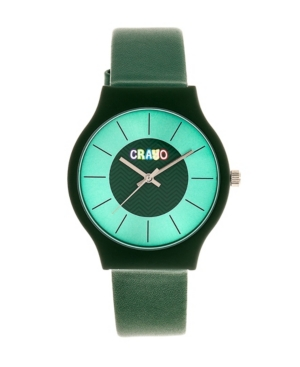 Unisex Trinity Green Leatherette Strap Watch 36mm