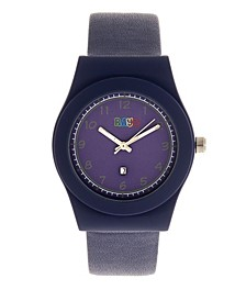 Unisex Dazzle Navy Genuine Leather Strap Watch 37mm