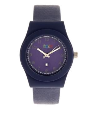 Unisex Dazzle Navy Genuine Leather Strap Watch 37mm
