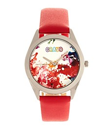Unisex Graffiti Red Genuine Leather Strap Watch 35mm
