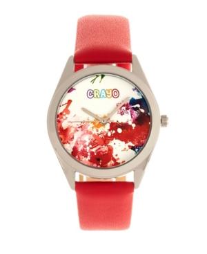 Unisex Graffiti Red Leatherette Strap Watch 35mm