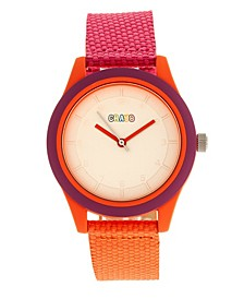 Unisex Pleasant Hot Pink, Orange Leatherette Strap Watch 39mm