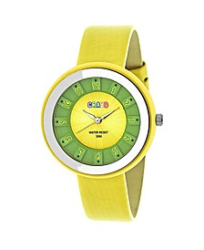 Unisex Celebration Yellow Genuine Leather Strap Watch 38mm