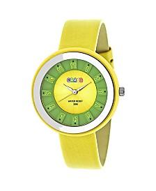Crayo Unisex Celebration Yellow Genuine Leather Strap Watch 38mm