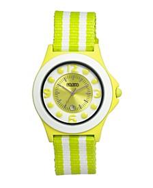Unisex Carnival Lime, White Nylon Strap Watch 39mm