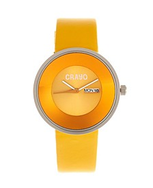 Unisex Button Yellow Genuine Leather Strap Watch 40mm