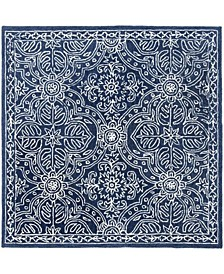 Etienne LRL6603N Navy and Ivory 5' X 5' Square Area Rug