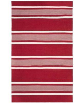 Hanover Stripe LRL2461D Red 4' X 6' Area Rug
