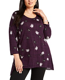 Plus Size Mixed-Media Printed Top, Created for Macy's