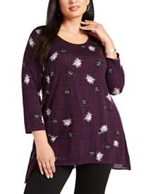 Alfani Plus Size Mixed-Media Printed Top, Created for Macy's