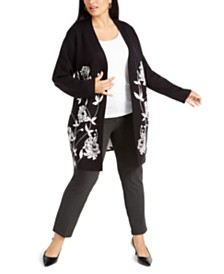 Alfani Plus Size Printed Open-Front Cardigan, Created for Macy's