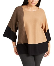 Alfani Plus Size Colorblocked Wide-Sleeve Sweater, Created for Macy's
