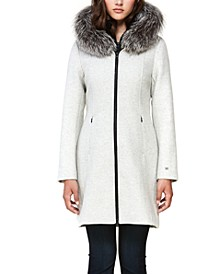 Hooded Fur-Trim Coat, Created for Macy's